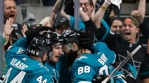 <p>               San Jose Sharks' Marc-Edouard Vlasic (44), Timo Meier (28) and Brent Burns (88) celebrate a goal by Meier against the St. Louis Blues in the second period in Game 1 of the NHL hockey Stanley Cup Western Conference finals in San Jose, Calif., Saturday, May 11, 2019. (AP Photo/Josie Lepe)             </p>