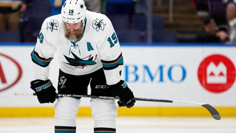 <p>               San Jose Sharks center Joe Thornton waits for play to resume during the third period in Game 4 of the NHL hockey Stanley Cup Western Conference final series against the St. Louis Blues Friday, May 17, 2019, in St. Louis. The Blues won 2-1 to even the series 2-2. (AP Photo/Jeff Roberson)             </p>