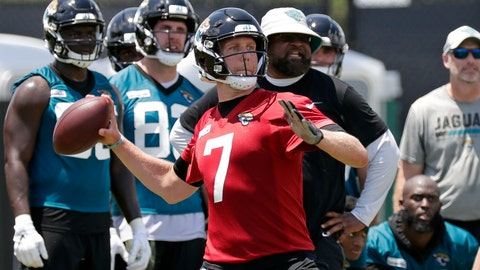 <p>               Jacksonville Jaguars quarterback Nick Foles (7) looks for a receiver during an NFL football practice, Tuesday, May 21, 2019, in Jacksonville, Fla. (AP Photo/John Raoux)             </p>
