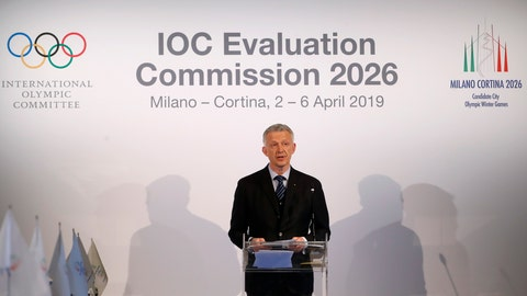 "<p>               FILE - In this Friday, April 5, 2019 file photo, Winter Olympics Milano Cortina bid IOC Evaluation Commission manager Octavian Morariu talks during an IOC Evaluation Commission meeting, in Milan, Italy. The Italian bid to host the 2026 Winter Olympics in Milan and Cortina d'Ampezzo looks stronger than the Stockholm-Are project in an IOC analysis of the candidates. The IOC says its own polling in March showed ""83% support in Italy"" and ""55% in favor in Sweden.""  (AP Photo/Antonio Calanni, file)             </p>"