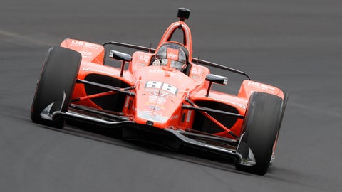 <p>               Marco Andretti drives through turn one during practice for the Indianapolis 500 IndyCar auto race at Indianapolis Motor Speedway, Friday, May 17, 2019 in Indianapolis. (AP Photo/Darron Cummings)             </p>