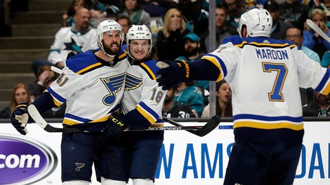 <p>               St. Louis Blues' Robert Bortuzzo, left, celebrates with teammates Robert Thomas (18) and Pat Maroon (7) after scoring a goal against the San Jose Sharks in the second period in Game 2 of the NHL hockey Stanley Cup Western Conference finals Monday, May 13, 2019, in San Jose, Calif. (AP Photo/Ben Margot)             </p>
