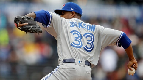 <p>               Toronto Blue Jays pitcher Edwin Jackson works against the San Francisco Giants in the first inning of a baseball game Wednesday, May 15, 2019, in San Francisco. (AP Photo/Ben Margot)             </p>