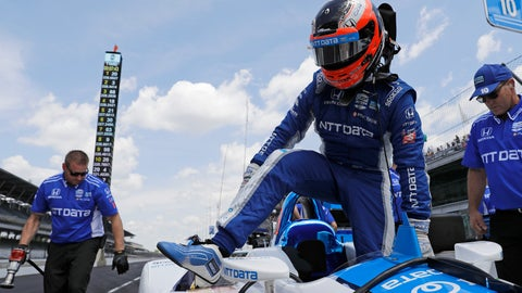 <p>               Felix Rosenqvist, of Sweden, steps out of his car during practice for the Indianapolis 500 IndyCar auto race at Indianapolis Motor Speedway, Tuesday, May 14, 2019 in Indianapolis. (AP Photo/Darron Cummings)             </p>