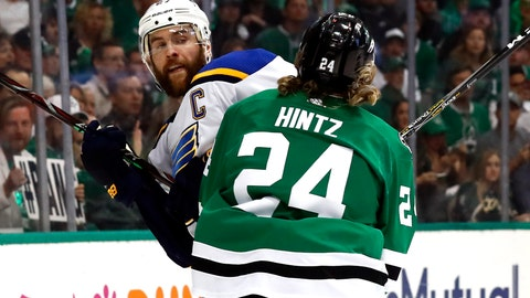 <p>               St. Louis Blues' Alex Pietrangelo is checked by Dallas Stars' Roope Hintz (24), of Finland, during the first period in Game 4 of an NHL second-round hockey playoff series Wednesday, May 1, 2019, in Dallas. (AP Photo/Tony Gutierrez)             </p>