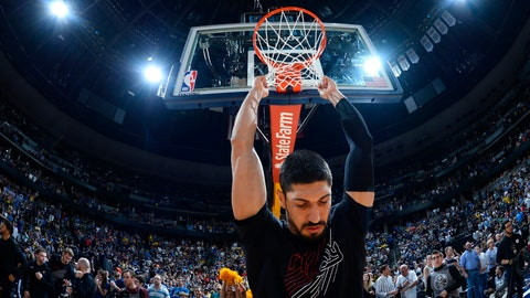 <p>               Portland Trail Blazers center Enes Kanter hangs on the net before the first half of Game 7 of an NBA basketball second-round playoff series against the Denver Nuggets Sunday, May 12, 2019, in Denver. (AP Photo/John Leyba)             </p>