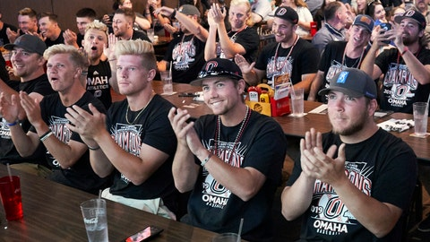 <p>               Omaha players react in Omaha, Neb., Monday, May 27, 2019, after hearing on the NCAA baseball selection show that they will face UCLA in the Los Angeles regional. (AP Photo/Nati Harnik)             </p>