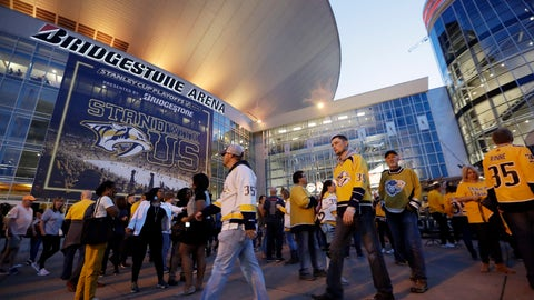 <p>               FILE - In this April 10, 2019, file photo, fans arrive at Bridgestone Arena for Game 1 of an NHL hockey first-round playoff series between the Nashville Predators and the Dallas Stars, in Nashville, Tenn. The Predators have agreed to a new 30-year lease deal that will help keep the franchise in Music City through 2049. (AP Photo/Mark Humphrey, File)             </p>