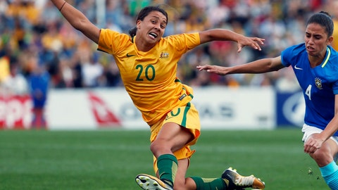 <p>               FILE - In this Sept. 16, 2017, file photo, Australia's Sam Kerr, left, fights for the ball against Brazil's Rafaelle Carvalho Souzav during their friendly soccer match in Penrith, Australia. Kerr has been selected as captain of Australia's 23-player squad for the Women's World Cup which kicks off in June 2019, in France. (AP Photo/Daniel Munoz, File)             </p>
