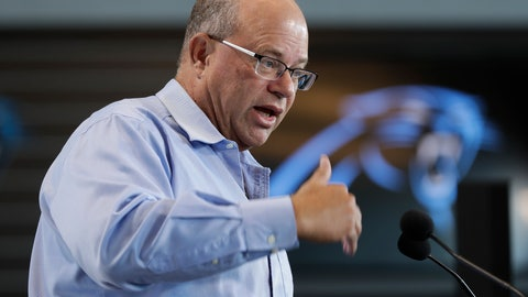 <p>               FILE - In this July 10, 2018 file photo, New Carolina Panthers owner David Tepper answers a question during a news conference at Bank of America Stadium in Charlotte, N.C. The South Carolina Senate appears to be preparing for a key vote on whether to give the Carolina Panthers tax breaks and incentives to move their practice fields out of South Carolina. State Sen. Dick Harpootlian removed his objection on the bill Tuesday, May 7, 2019, so it could come to a vote.  (AP Photo/Chuck Burton, File)             </p>