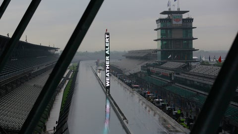 <p>               A weather alert is posted on the scoring pylon as severe weather moved through the area before the start of practice for the Indianapolis 500 IndyCar auto race at Indianapolis Motor Speedway, Friday, May 24, 2019, in Indianapolis. (AP Photo/R Brent Smith)             </p>