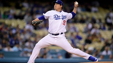 <p>               Los Angeles Dodgers starting pitcher Hyun-Jin Ryu, of South Korea, throws to the plate during the first inning of a baseball game against the Atlanta Braves, Tuesday, May 7, 2019, in Los Angeles. (AP Photo/Mark J. Terrill)             </p>