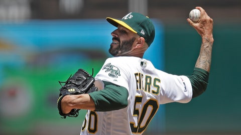 <p>               Oakland Athletics pitcher Mike Fiers works against the Seattle Mariners in the first inning of a baseball game Saturday, May 25, 2019, in Oakland, Calif. (AP Photo/Ben Margot)             </p>