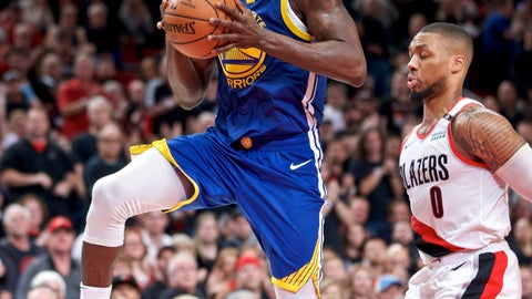 <p>               Golden State Warriors forward Draymond Green, left, prepares to shoot over Portland Trail Blazers guard Damian Lillard during the first half of Game 3 of the NBA basketball playoffs Western Conference finals Saturday, May 18, 2019, in Portland, Ore. (AP Photo/Craig Mitchelldyer)             </p>