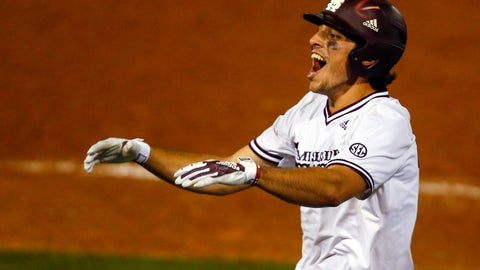 <p>               Mississippi State's Marshall Gilbert reacts after a sacrifice bunt to move runners into scoring position during the 10th inning of the Southeastern Conference tournament NCAA college baseball game against LSU, early morning Thursday, May 23, 2019, in Hoover, Ala. (AP Photo/Butch Dill)             </p>