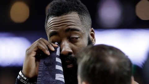 <p>               Houston Rockets' James Harden wipes his injured eye with a towel during the first half of Game 2 of the team's second-round NBA basketball playoff series against the Golden State Warriors in Oakland, Calif., Tuesday, April 30, 2019. (AP Photo/Jeff Chiu)             </p>