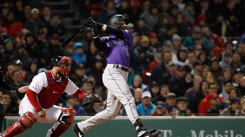 <p>               Colorado Rockies' Charlie Blackmon follows through on his two-run home run during the eighth inning of a baseball game against the Boston Red Sox Tuesday, May 14, 2019, at Fenway Park in Boston. (AP Photo/Winslow Townson)             </p>