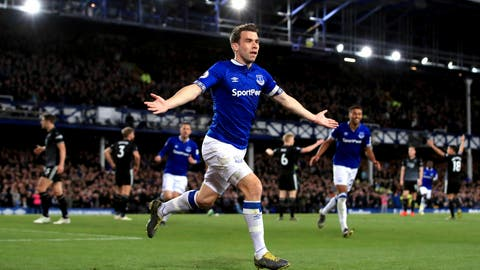 <p>               Everton's Seamus Coleman celebrates scoring his side's second goal of the game during the English Premier League soccer match between Everton and Burnley at Goodison Park, Liverpool, England, Friday, May 3, 2019. (Peter Byrne/PA via AP)             </p>