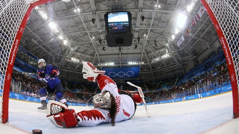 <p>               FILE - In this Feb. 22, 2018, file pool photo, United States' Jocelyne Lamoureux-Davidson (17) scores the game-winning goal past Canada goalie Shannon Szabados (1) during a penalty shootout in the women's gold medal hockey game at the 2018 Winter Olympics in Gangneung, South Korea. More than 200 of the world's top female players are choosing not to play professional hockey in North America at all this year in an attempt to establish a economically viable professional league. (Bruce Bennett/Pool Photo via AP, File)             </p>