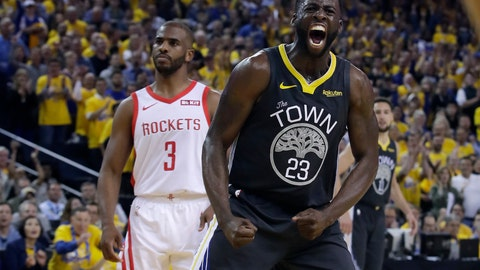 <p>               Golden State Warriors' Draymond Green (23) reacts after scoring, in front of Houston Rockets' Chris Paul (3) during the second half of Game 2 of a second-round NBA basketball playoff series in Oakland, Calif., Tuesday, April 30, 2019. (AP Photo/Jeff Chiu)             </p>