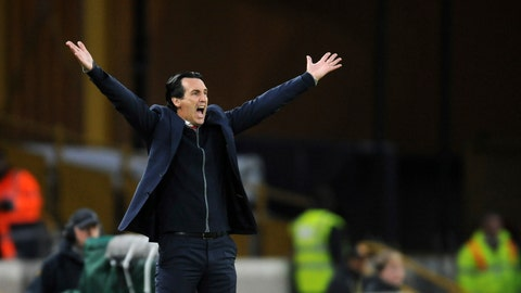 <p>               Arsenal manager Unai Emery reacts after Wolverhampton's Matt Doherty scores his side's second goal during the English Premier League soccer match between Wolverhampton Wanderers and Arsenal at the Molineux Stadium in Wolverhampton, England, Wednesday, April 24, 2019. (AP Photo/Rui Vieira)             </p>