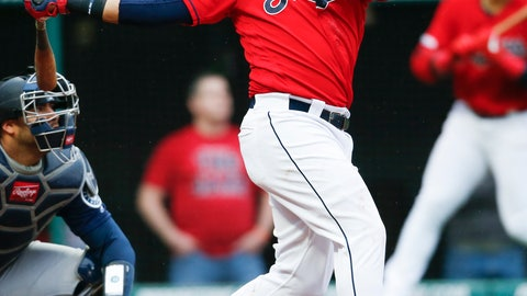 <p>               Cleveland Indians' Carlos Santana hits a two-run home run off Seattle Mariners relief pitcher Connor Sadzeck during the eighth inning of a baseball game, Saturday, May 4, 2019, in Cleveland. The Indians defeated the Mariners 5-4. (AP Photo/Ron Schwane)             </p>