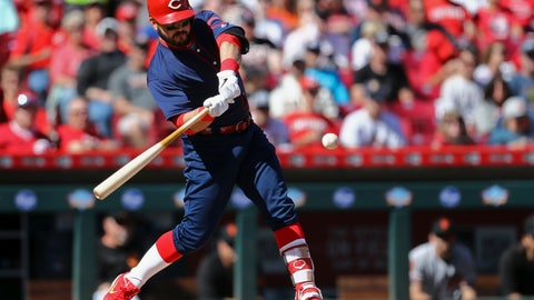 <p>               Cincinnati Reds' Eugenio Suarez hits a two-run home run in the first inning of a baseball game against the San Francisco Giants, Sunday, May 5, 2019, in Cincinnati. (AP Photo/Aaron Doster)             </p>