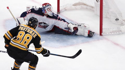 <p>               Boston Bruins right wing David Pastrnak (88) beats Columbus Blue Jackets goaltender Sergei Bobrovsky for a his second goal of an NHL hockey game during the third period of Game 5 of a second-round playoff series, Saturday, May 4, 2019, in Boston. (AP Photo/Charles Krupa)             </p>