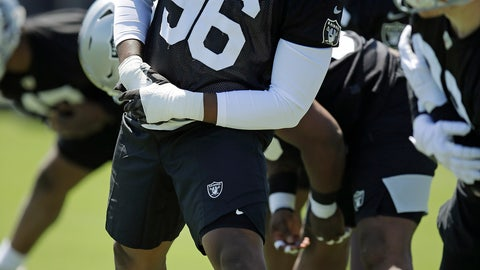 <p>               Oakland Raiders defensive end Clelin Ferrell performs a drill during an NFL football practice on Friday, May 3, 2019, at the team's training facility in Alameda, Calif. (AP Photo/Ben Margot)             </p>