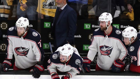 <p>               Columbus Blue Jackets watch the from the bench during the final seconds of the third period of Game 5 of an NHL hockey second-round playoff series against the Boston Bruins, Saturday, May 4, 2019, in Boston. (AP Photo/Charles Krupa)             </p>