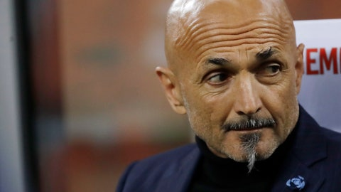 <p>               Inter Milan coach Luciano Spalletti sits on the bench during a Serie A soccer match between Inter Milan and Chievo, at the San Siro stadium in Milan, Italy, Monday, May 13, 2019. (AP Photo/Luca Bruno)             </p>