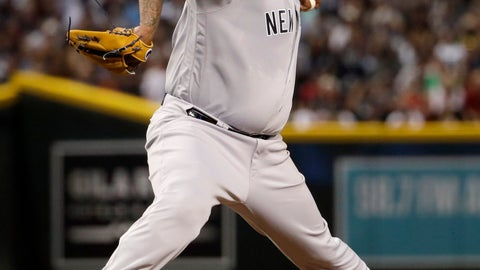 <p>               New York Yankees starting pitcher CC Sabathia throws a pitch for his 3,000th career strikeout, during the second inning of the team's baseball game against the Arizona Diamondbacks, Tuesday, April 30, 2019, in Phoenix. (AP Photo/Matt York)             </p>