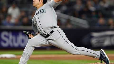 <p>               Seattle Mariners starting pitcher Yusei Kikuchi delivers during the seventh inning of a baseball game against the New York Yankees, Wednesday, May 8, 2019, in New York. (AP Photo/Kathy Willens)             </p>