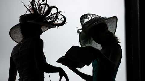 <p>               Women wear a hat before the 145th running of the Kentucky Derby horse race at Churchill Downs Saturday, May 4, 2019, in Louisville, Ky. (AP Photo/Charlie Riedel)             </p>