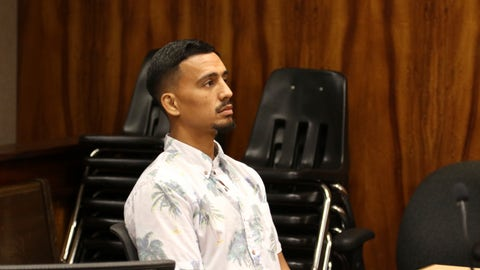 <p>               Hawaii mixed martial arts fighter Arnold Berdon appears in state court in Honolulu on Thursday, May 16, 2019. Berdon has been sentenced to four years probation after pleading no contest to assaulting his wife, UFC fighter Rachael Ostovich Berdon. (AP Photo/Jennifer Sinco Kelleher)             </p>