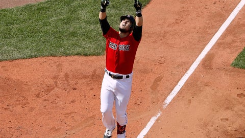 <p>               Boston Red Sox's Michael Chavis points skyward before crossing home plate after his home run against the Houston Astros during the fifth inning of a baseball game Sunday, May 19, 2019, at Fenway Park in Boston. (AP Photo/Winslow Townson)             </p>