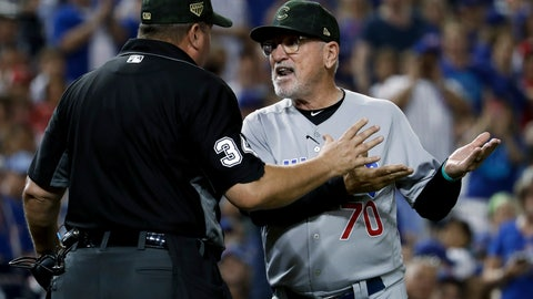 <p>               Chicago Cubs manager Joe Maddon argues with umpire Sam Holbrook (34) over the delivery of Washington Nationals relief pitcher Sean Doolittle during the ninth inning of a baseball game Saturday, May 18, 2019, in Washington. Maddon thought Doolittle was using an illegal delivery. Maddon believed the left-handed Doolittle was tapping his right toe on the ground before coming to the plate. The Nationals won 5-2. (AP Photo/Andrew Harnik)             </p>