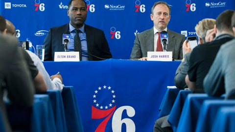 <p>               Philadelphia 76ers general manager Elton Brand, left, and owner Josh Harris take part in a news conference at the NBA basketball team's practice facility in Camden, N.J., Tuesday, May 14, 2019. (AP Photo/Matt Rourke)             </p>