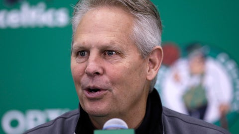 <p>               FILE - In this June 23, 2017, file photo, Boston Celtics team president Danny Ainge speaks at the team's practice facility in Waltham, Mass. The Celtics said that Ainge suffered a mild heart attack Tuesday night, April 30, 2019, in Milwaukee, where the team played the Bucks in the second round of the NBA playoffs. The team said he received immediate medical attention and is expected to make a full recovery. (AP Photo/Charles Krupa, File)             </p>