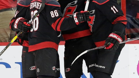 <p>               Carolina Hurricanes' Teuvo Teravainen (86), of Finland, Sebastian Aho (20), also of Finland, and Jordan Staal (11) celebrate Aho's goal against the New York Islanders during the first period of Game 4 of an NHL hockey second-round playoff series in Raleigh, N.C., Friday, May 3, 2019. (AP Photo/Gerry Broome)             </p>