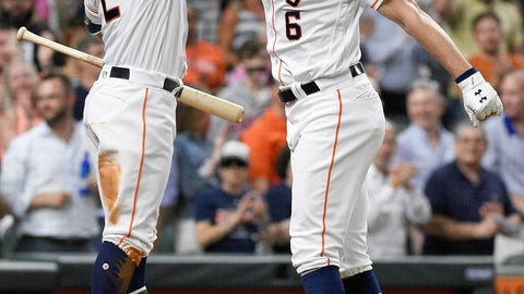 <p>               Houston Astros' Jake Marisnick (6) celebrates his solo home run off Chicago White Sox relief pitcher Jace Fry with Alex Bregman during the third inning of a baseball game, Monday, May 20, 2019, in Houston. (AP Photo/Eric Christian Smith)             </p>