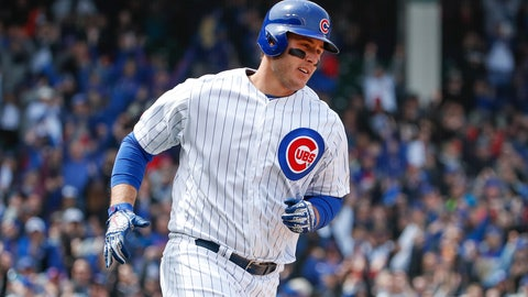 <p>               Chicago Cubs' Anthony Rizzo rounds the bases after hitting three-run home run off of St. Louis Cardinals starting pitcher Jack Flaherty during the third inning of a baseball game, Friday, May 3, 2019, in Chicago. (AP Photo/Kamil Krzaczynski)             </p>