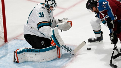 <p>               San Jose Sharks goaltender Martin Jones, left, makes a stick save of a shot by Colorado Avalanche center Nathan MacKinnon in the first period of Game 3 of an NHL hockey second-round playoff series Tuesday, April 30, 2019, in Denver. (AP Photo/David Zalubowski)             </p>