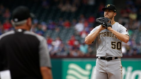 <p>               Pittsburgh Pirates starting pitcher Jameson Taillon reacts as manager Clint Hurdle walks to the mound to relieve him against the Texas Rangers during the seventh inning of a baseball game Wednesday May 1, 2019, in Arlington, Texas. (AP Photo/Mike Stone)             </p>