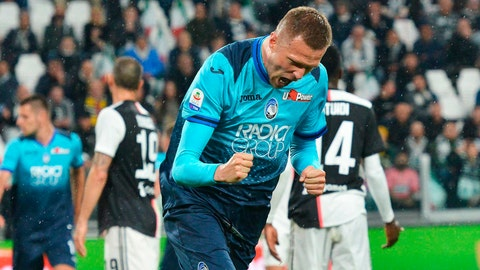 <p>               Atalanta's Josip Ilicic celebrates scoring during the Italian Serie A soccer match Juventus FC and Atalanta BC at the Allianz Stadium in Turin, Italy, Sunday May 19, 2019. (Alessandro Di Marco/ANSA via AP)             </p>
