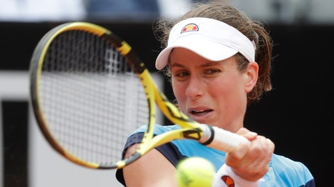 <p>               Johanna Konta of Britain returns the ball to Kiki Bertens of the Netherlands during a semifinal match at the Italian Open tennis tournament, in Rome, Saturday, May 18, 2019. (AP Photo/Andrew Medichini)             </p>