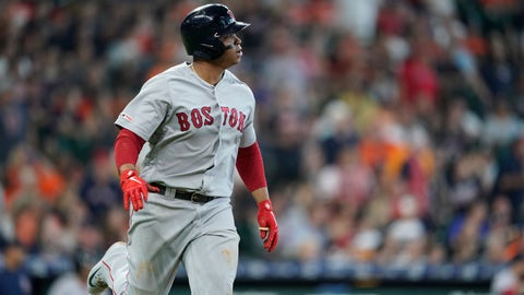 <p>               Boston Red Sox's Rafael Devers watches his home run against the Houston Astros during the fourth inning of a baseball game Sunday, May 26, 2019, in Houston. (AP Photo/David J. Phillip)             </p>