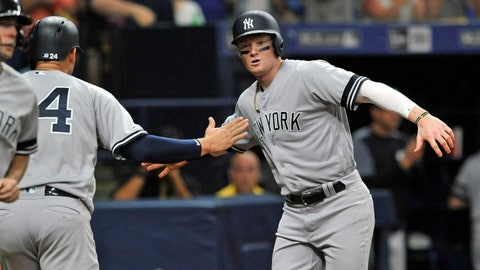 <p>               New York Yankees' Gary Sanchez (24) and Clint Frazier celebrate after scoring on Gio Urshela's two-run single off Tampa Bay Rays reliever Emilo Pagan during the sixth inning of a baseball game Friday, May 10, 2019, in St. Petersburg, Fla. (AP Photo/Steve Nesius)wb             </p>