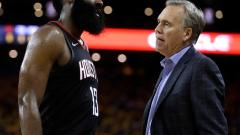 <p>               Houston Rockets' James Harden, left, speaks with coach Mike D'Antoni during the second half of Game 5 of a second-round NBA basketball playoff series against the Golden State Warriors Wednesday, May 8, 2019, in Oakland, Calif. (AP Photo/Ben Margot)             </p>