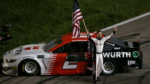 KANSAS CITY, KS - MAY 11:  Brad Keselowski, driver of the #2 Wurth Ford, celebrates after winning the Monster Energy NASCAR Cup Series Digital Ally 400 at Kansas Speedway on May 11, 2019 in Kansas City, Kansas.  (Photo by Sean Gardner/Getty Images)